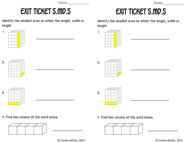 Volume of Rectangular Prisms Math Tasks and Exit Tickets