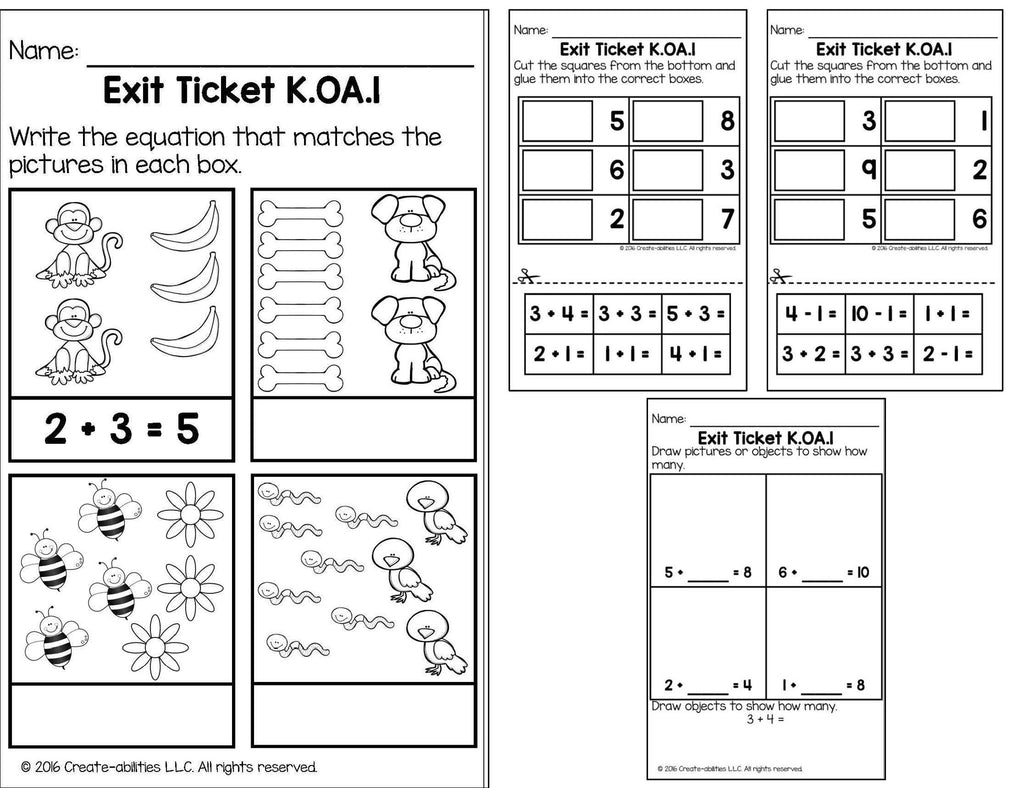 Addition and Subtraction Math Tasks and Exit Tickets for ...