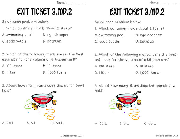 Measure Volumes and Masses Math Tasks and Exit Tickets