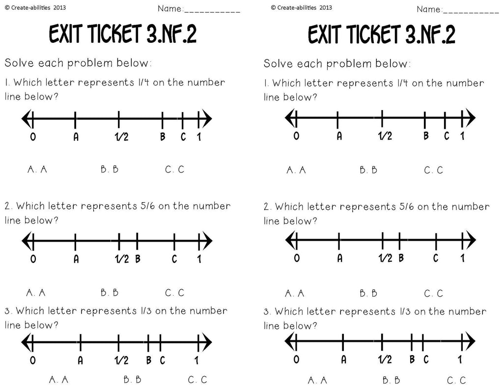 worksheet Numberlines fractions on number lines math tasks and exit tickets create tickets