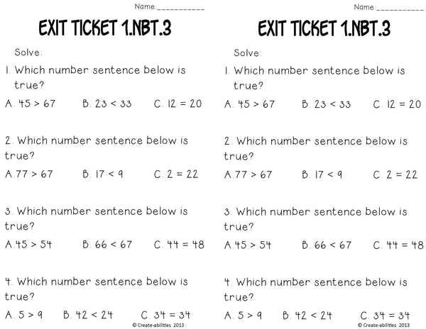 Greater Than Less Than Math Tasks and Exit Tickets 1st Grade