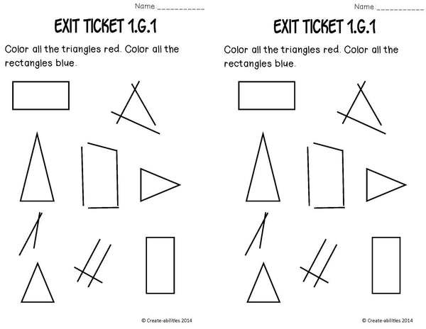 Attributes of Shapes Math Tasks and Exit Tickets 1st Grade