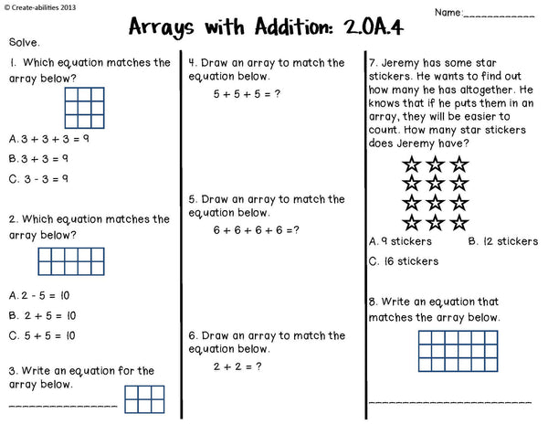 Addition and Subtraction Tests 2nd Grade