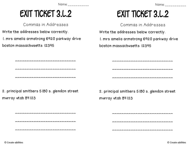 Capital Letters Commas and Quotation Marks  Exit Tickets