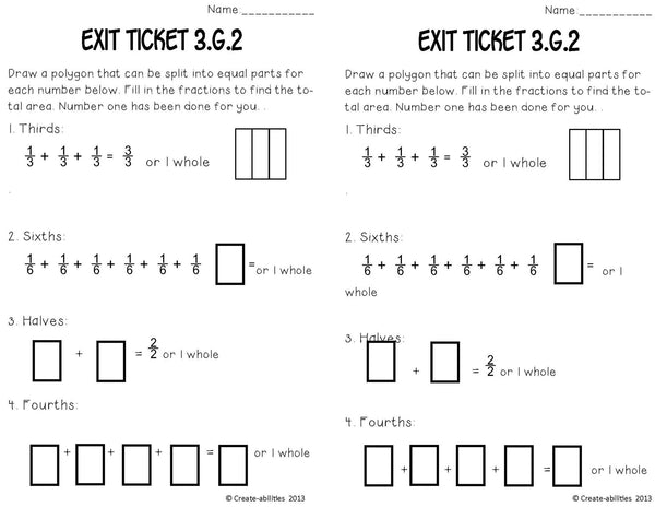Partitioning Shapes  Math Tasks and Exit Tickets 3rd Grade
