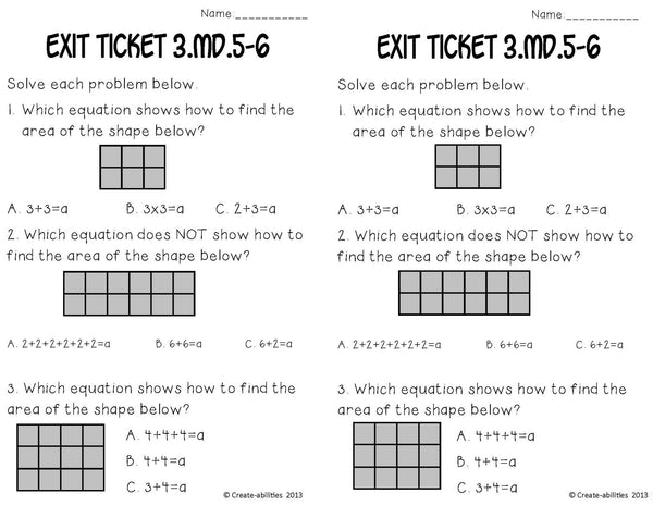 Area With Square Units Math Tasks and Exit Tickets