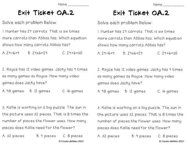 Multiplication Word Problems Math Tasks and Exit Tickets