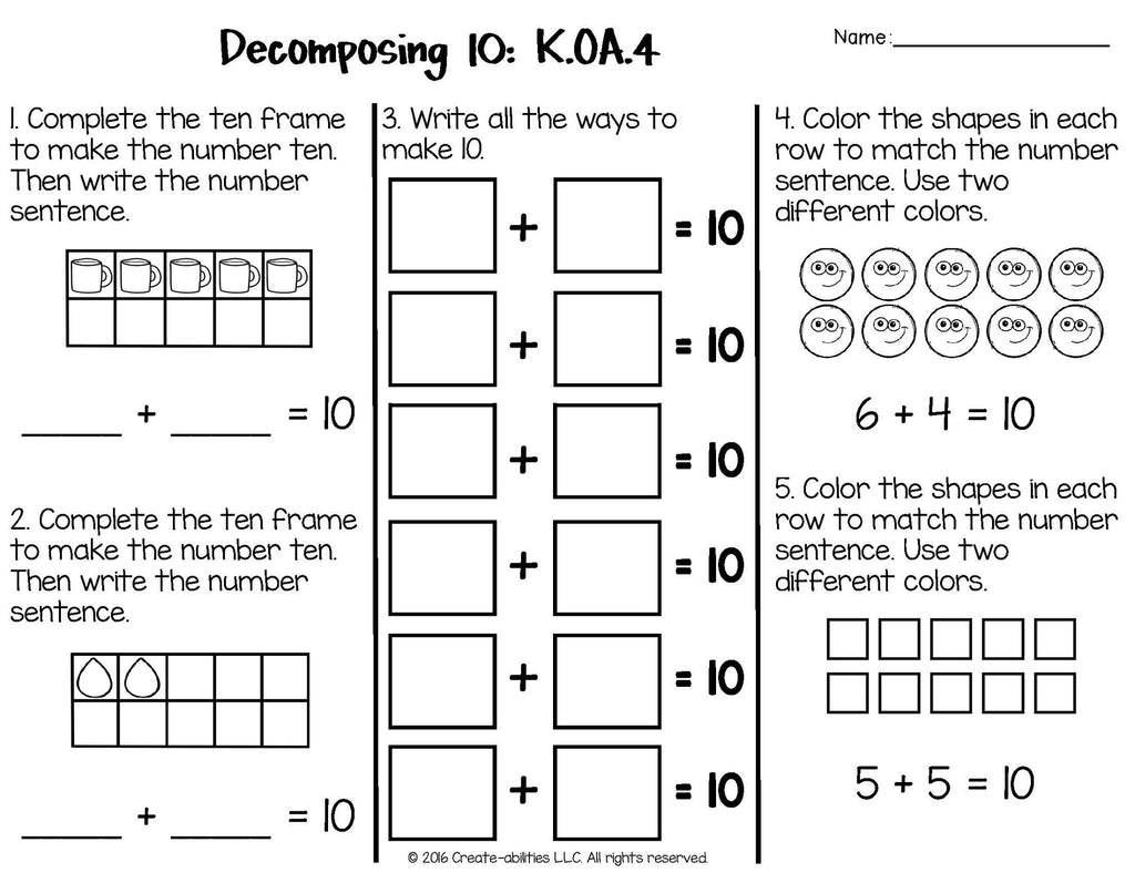 Addition and Subtraction Math Tests for Kindergarten – Create-abilities