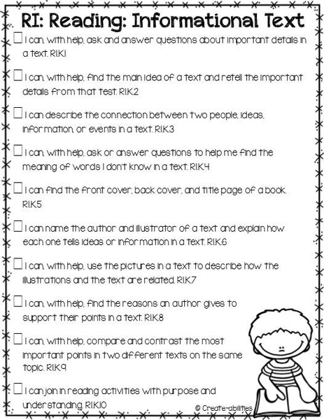 I Can Statements Kindergarten ELA