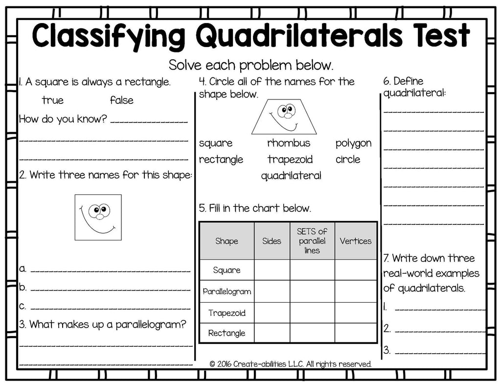 Classifying quadrilaterals printables and games create abilities classifying quadrilaterals printables and games pooptronica Images