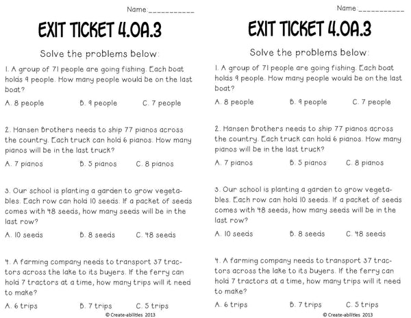 Word Problems Math Tasks and Exit Tickets