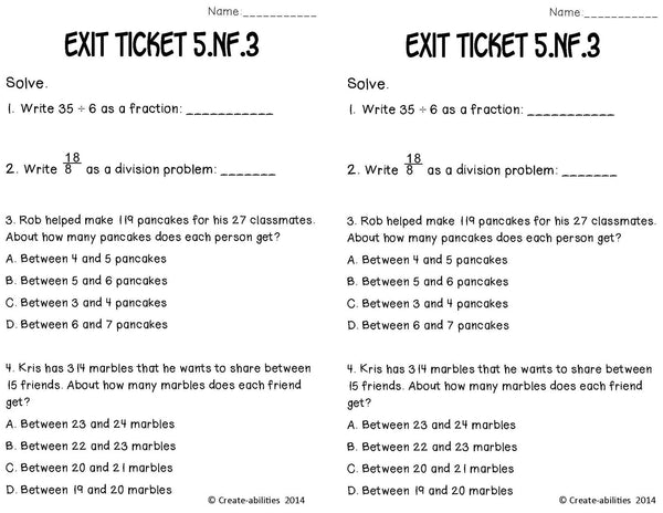 Dividing Fractions Word Problems Math Tasks and Exit Tickets