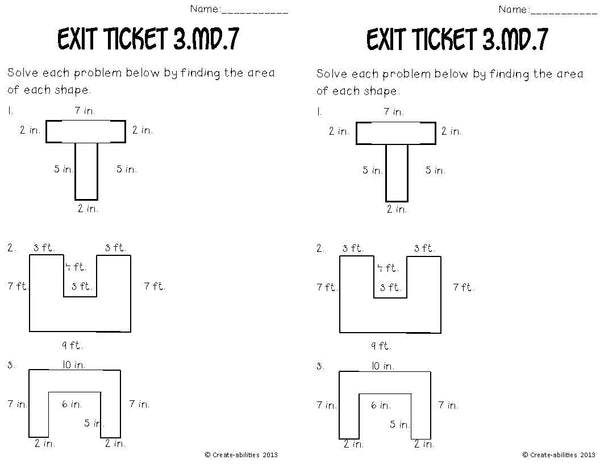Area of Rectangles Math Tasks and Exit Tickets