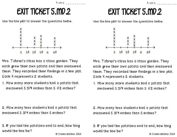 Line Plots and Fractions Math Tasks and Exit Tickets