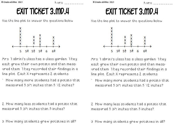 Line Plots and Rulers Math Tasks and Exit Tickets