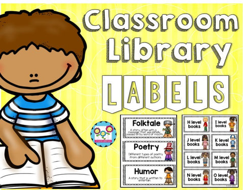 Classroom Library Labels Black and White