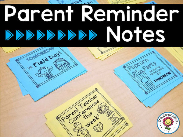 Reminder Notes for Parents EDITABLE