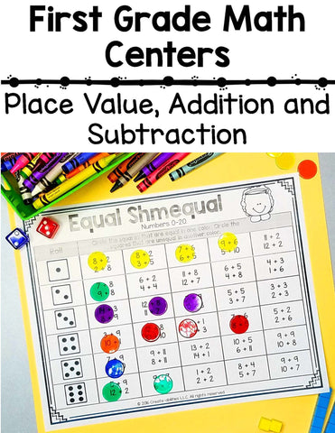 1st Grade Place Value and Addition and Subtraction Math Centers