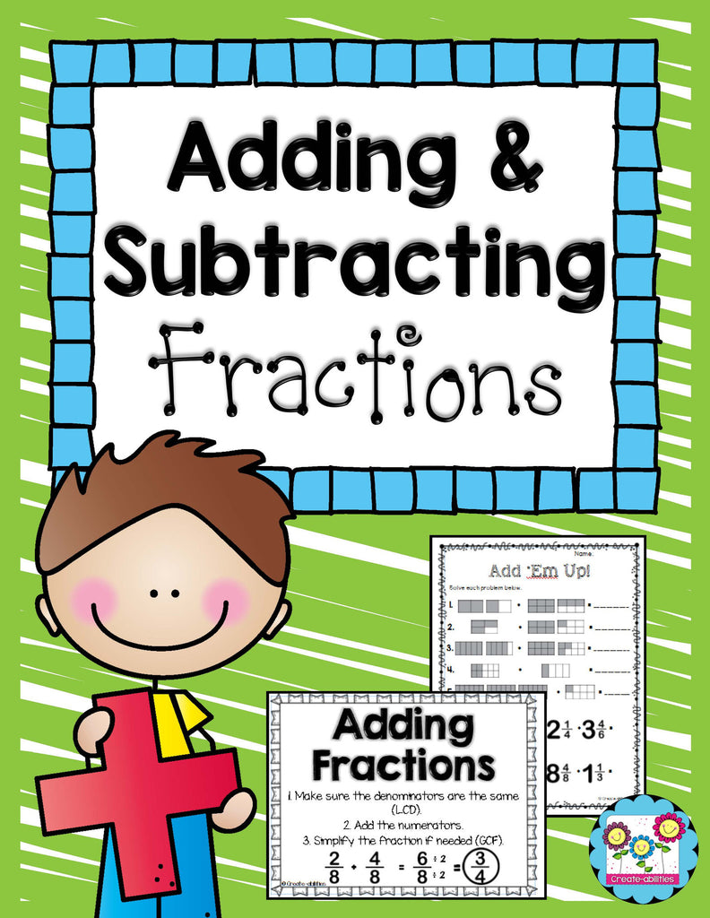 Adding and Subtracting Fractions Games and Activities