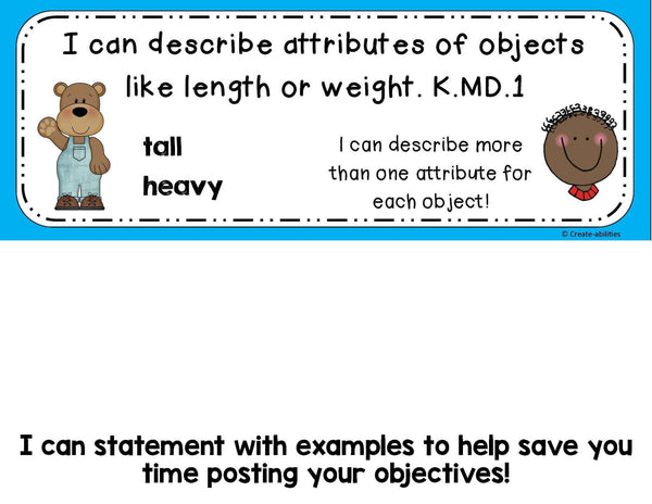 Measurable Attributes of Objects Math Tasks and Exit Tickets for Kindergarten