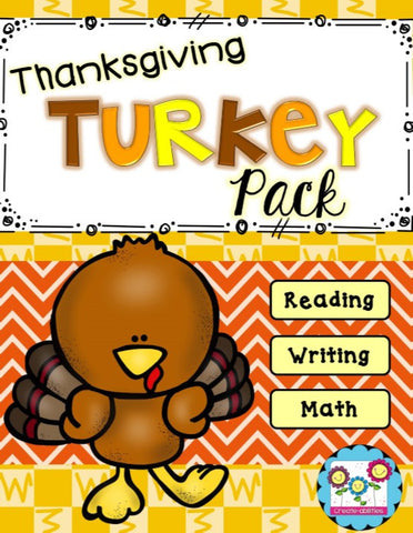 Thanksgiving Turkey Pack Reading Writing and Math Activities