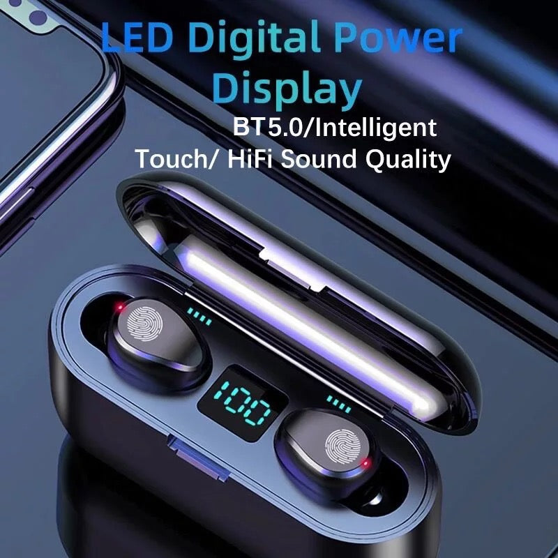 Wireless 3 In 1 Earbuds with Portable Charger for iPhone/Samsung/Android
