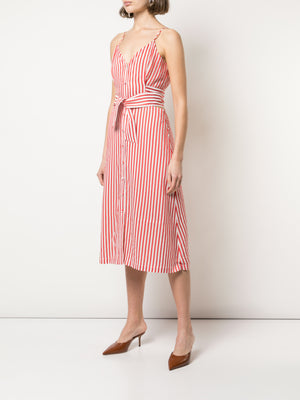 FLUID STRIPE FRONT TIE DRESS