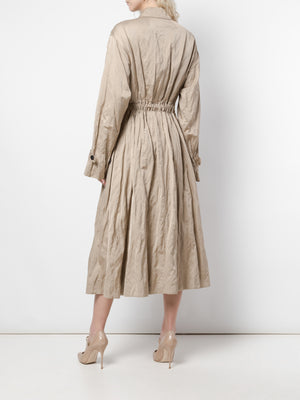 WASHED COTTON BLEND SATEEN COAT WITH BOUCLE GG RIB