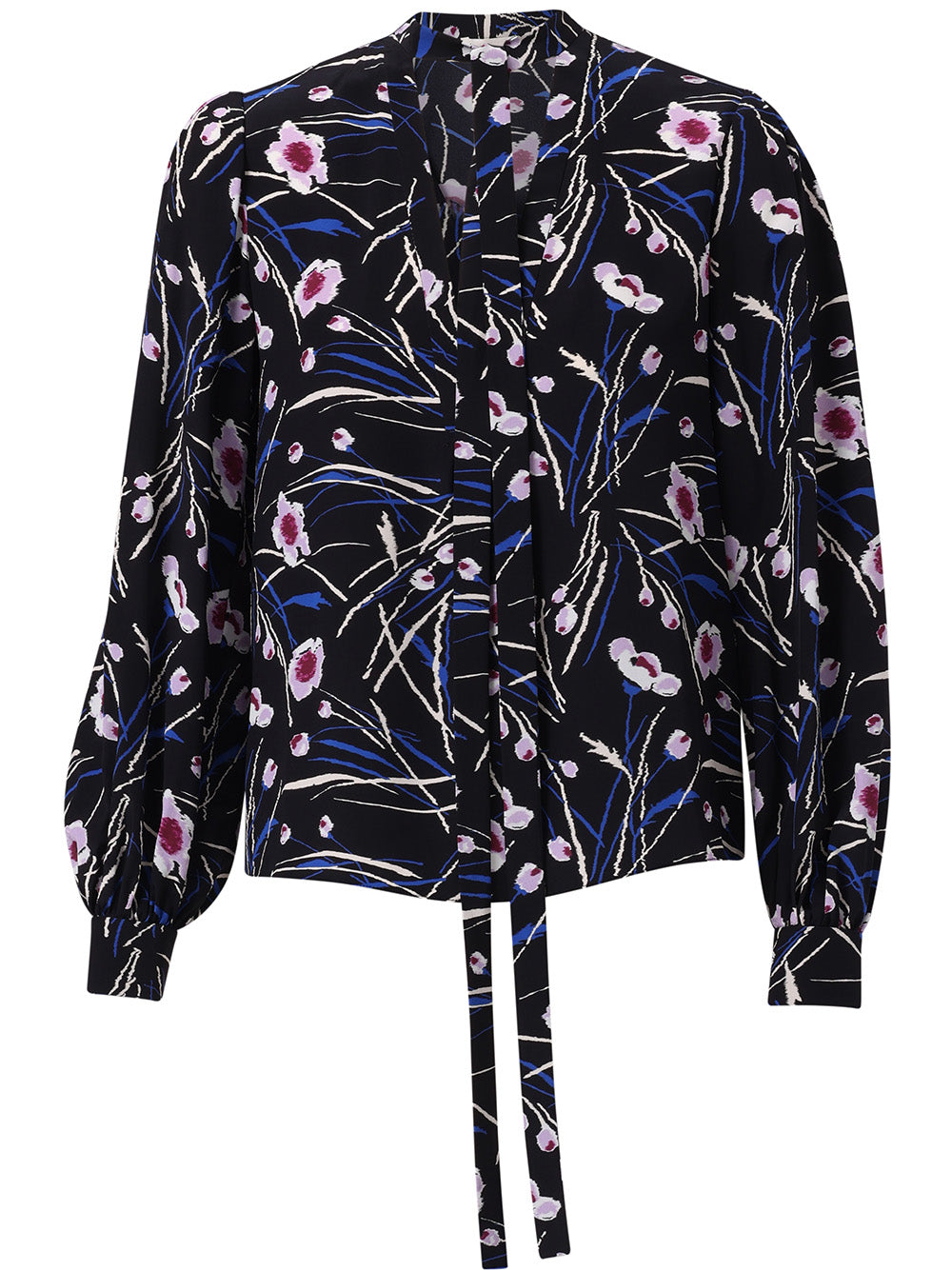 STEM FLORAL PRINTED SILK CDC LONG SLEEVE TOP WITH NECK TIE