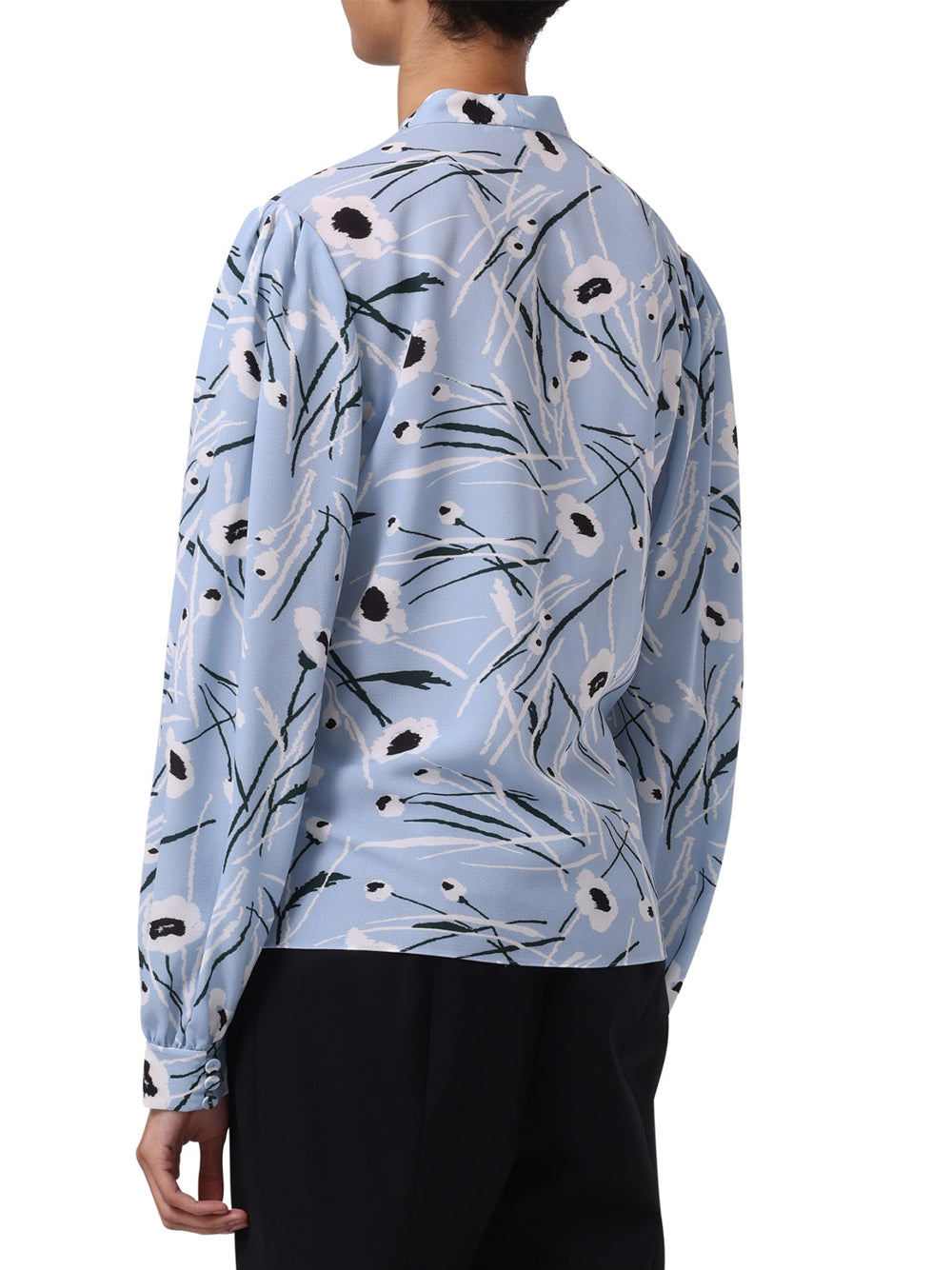 STEM FLORAL PRINTED CREPE LONG SLEEVE TOP WITH NECK TIE