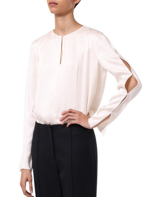 CREPE BACK SATIN LONG SLEEVE TOP WITH PEARL TRIM