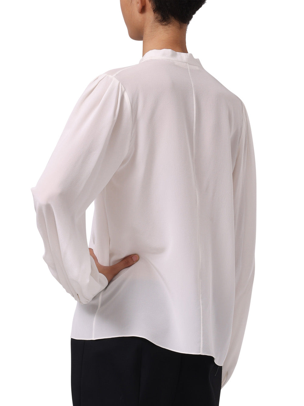 SILK CDC LONG SLEEVE TOP WITH NECKTIE