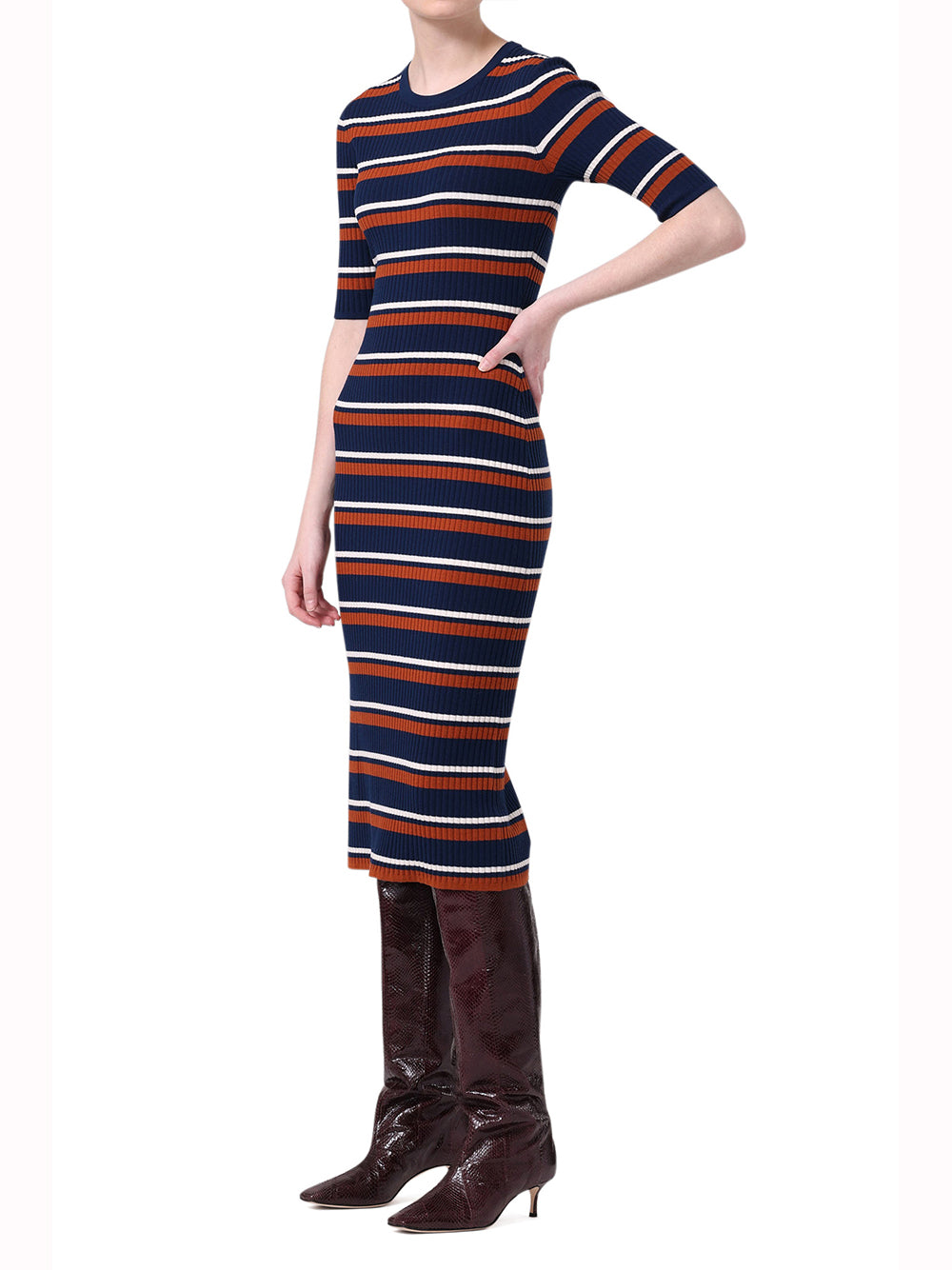 STRIPED KNIT DRESS