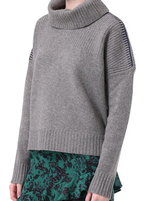 DROP SHOULDER CONTRAST STITCH SWEATER