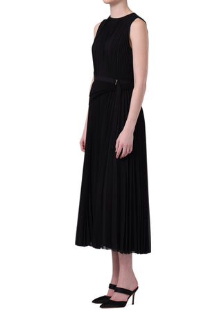 SLEEVELESS PLEATED DAY DRESS