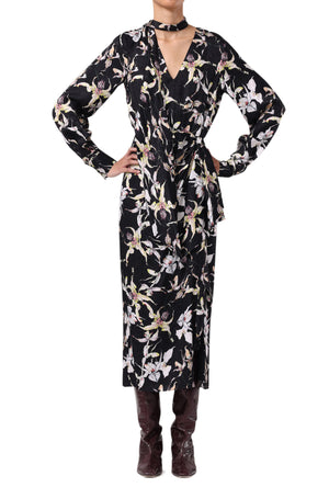 SILK SATIN JACQUARD LONG SLEEVE  DAY DRESS