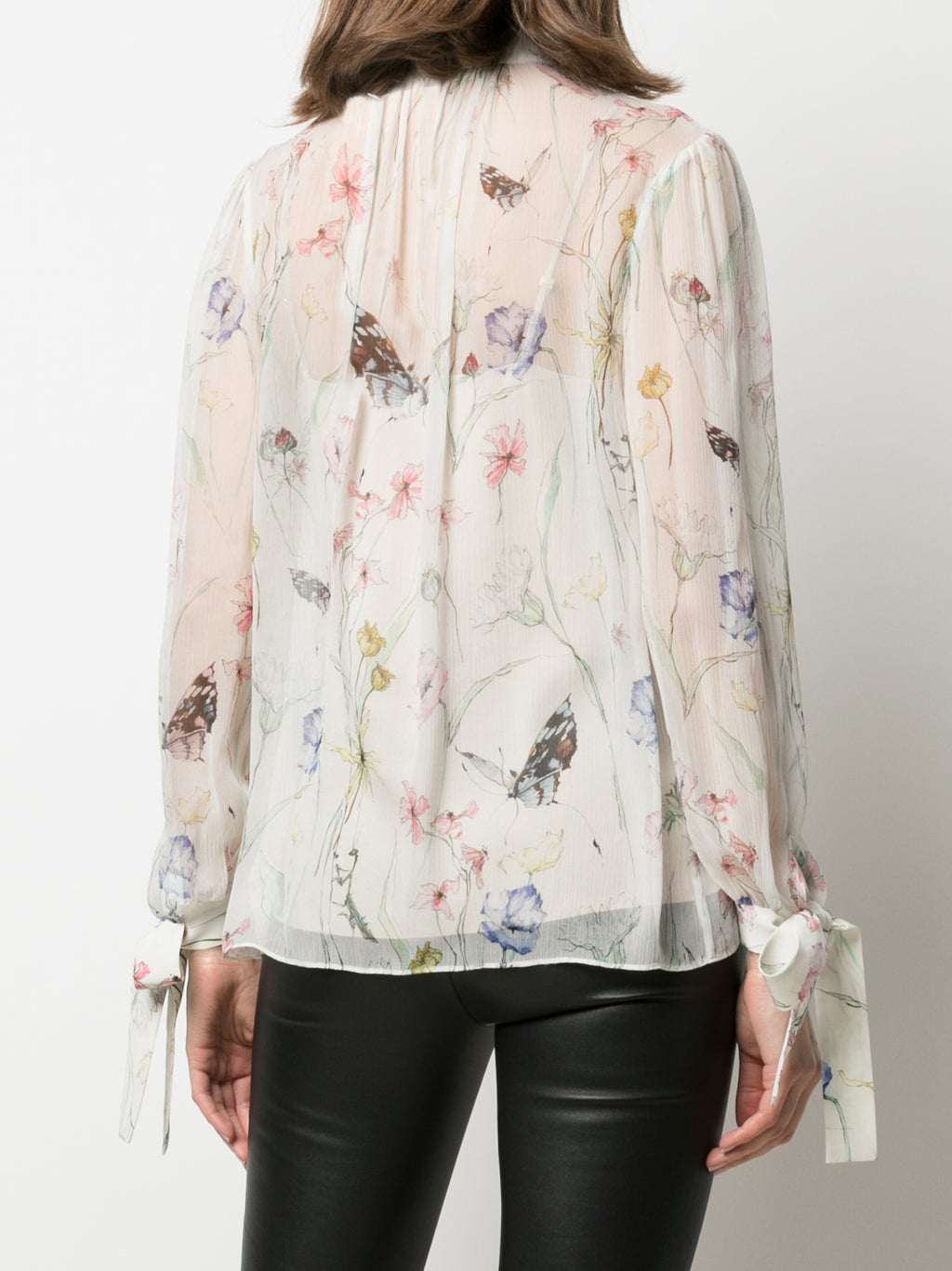 PRINTED BLOUSE WITH CUFF TIES