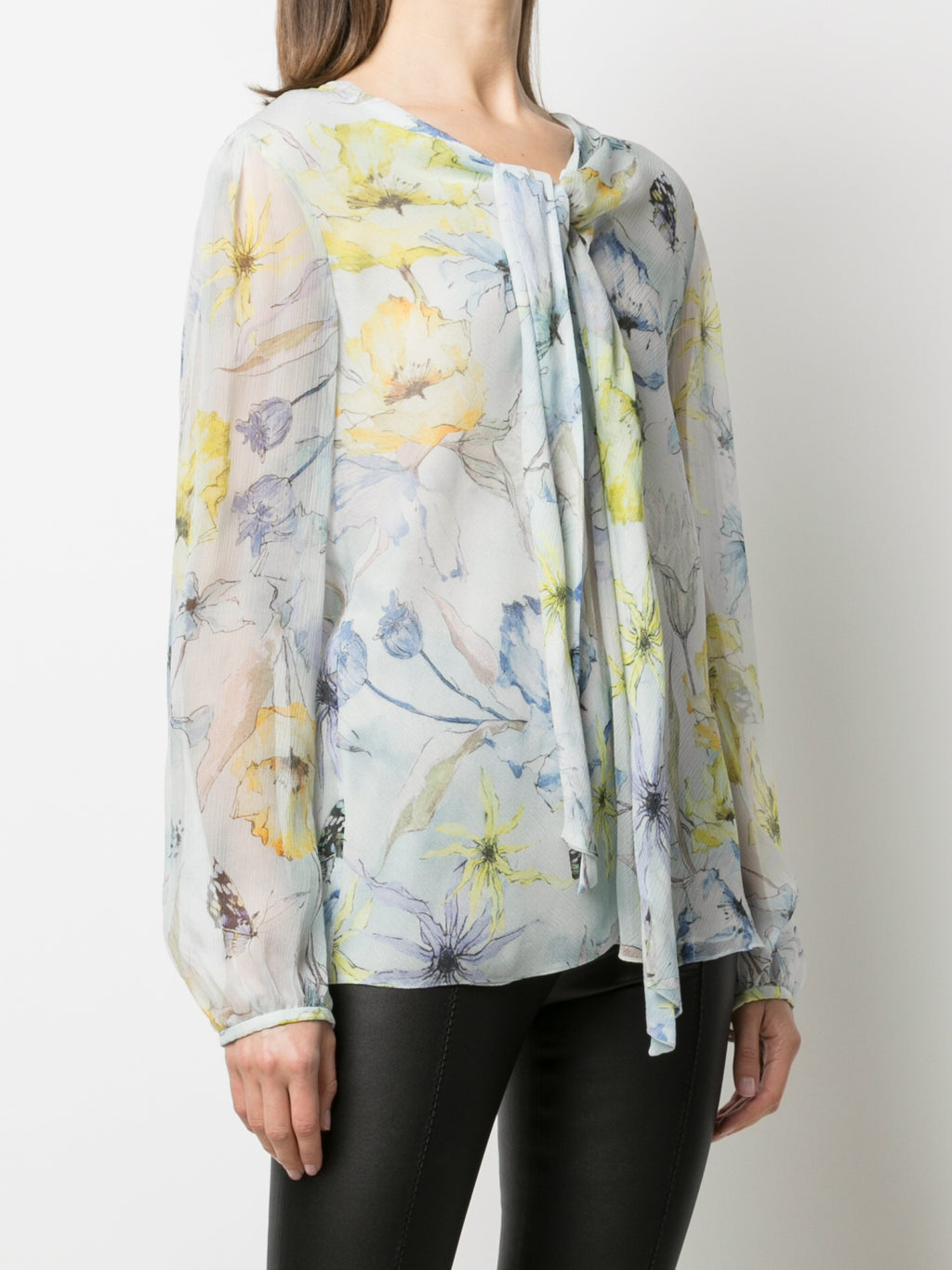 PRINTED BLOUSE WITH NECKTIE DETAIL