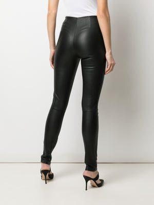 STRETCH LEATHER PANT WITH PINCH STITCH DETAIL