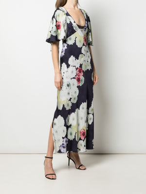 FLORAL DOUBLE SIDED FLUTTER SLEEVE DRESS
