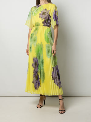 PRINTED PLEATED DAY DRESS