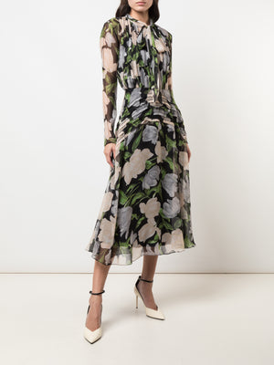 PRINTED SILK CRINKLE CHIFFON DAY DAY DRESS