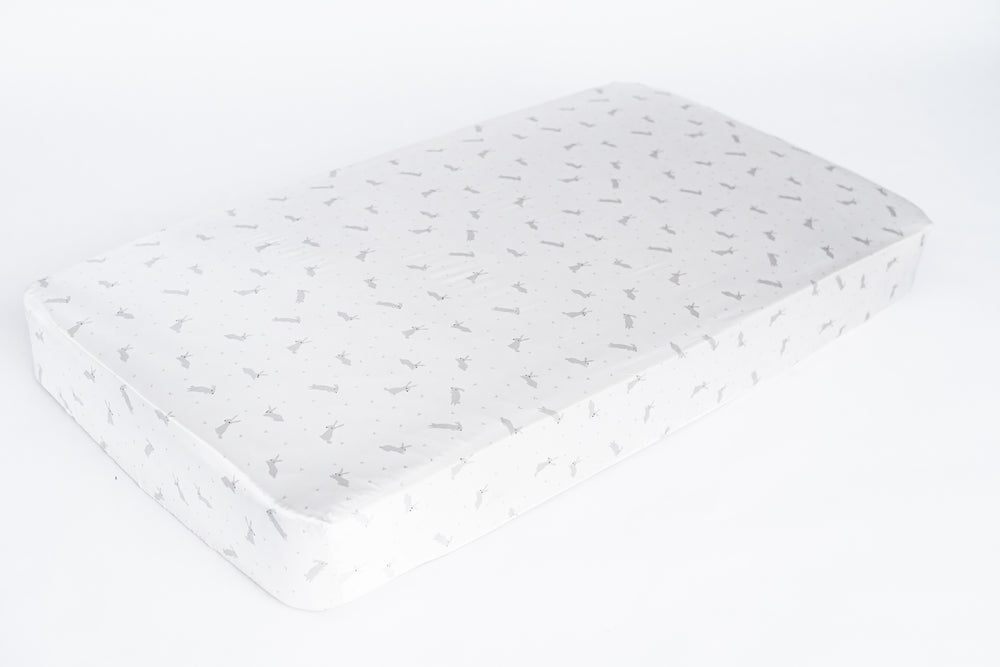 fitted crib sheet - happy bunnies print