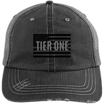 Cap: Gray Distressed Unstructured Trucker (TIER ONE FLAG)