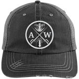 Cap: Gray Distressed Unstructured Trucker (A&W Logo)