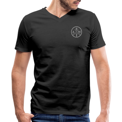 Men's V-Neck T-Shirt (A&W logo) - black