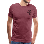 Men's Short Sleeve Crew (A&W / TIER ONE Flag) - heather burgundy