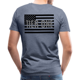 Men's Short Sleeve Crew (A&W / TIER ONE Flag) - heather blue