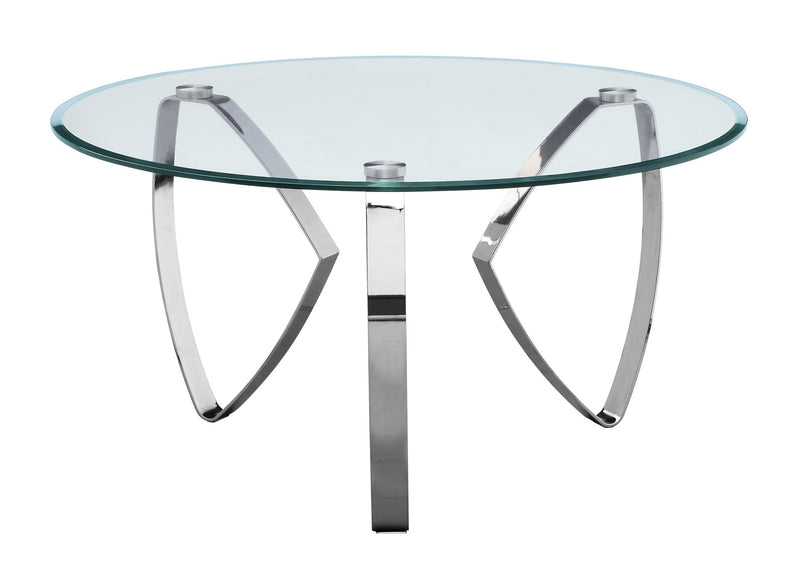 Hollywood Nickel Tri Leg Round Cocktail Table