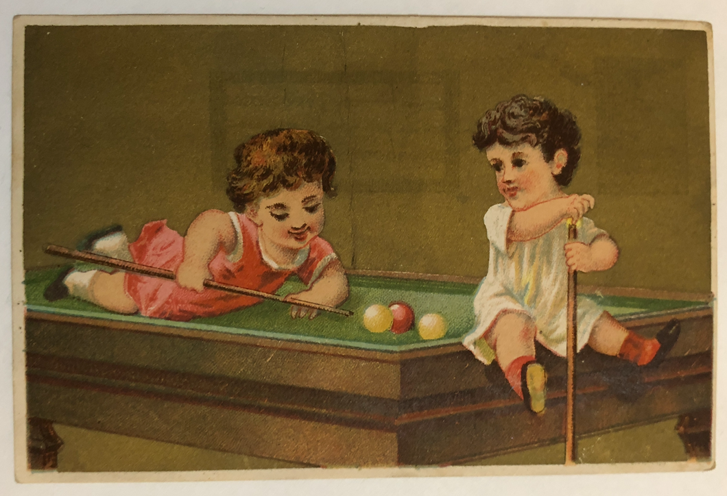 French Trade Card with Youth Billiard Scene- 19th Century
